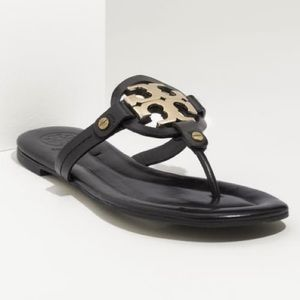Tory Burch Metal Miller Black Leather Sandal